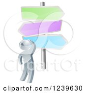 Clipart Of A 3d Silver Man Looking Up At Colorful Crossroads Signs Royalty Free Vector Illustration by AtStockIllustration