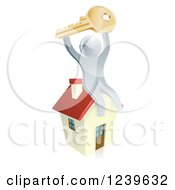 Clipart Of A 3d Silver Man Holding Up A Key On Top Of A House Royalty Free Vector Illustration