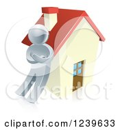 Clipart Of A 3d Silver Man Leaning Against A House Royalty Free Vector Illustration