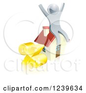 Clipart Of A 3d Silver Man Cheering On A House By A Percent Symbol Royalty Free Vector Illustration