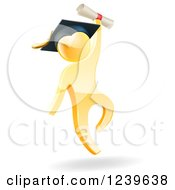 Clipart Of A 3d Gold Man Graduate Jumping With A Diploma Royalty Free Vector Illustration