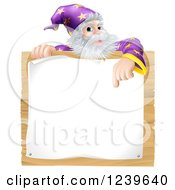 Clipart Of A Senior Wizard Pointing Down To A Posted Notice Sign Royalty Free Vector Illustration
