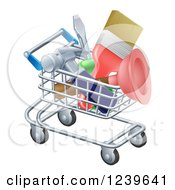 Clipart Of A 3d Shopping Cart Full Of DIY Tools Royalty Free Vector Illustration