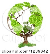 Clipart Of A Tree With A Leafy Earth Globe Canopy Royalty Free Vector Illustration