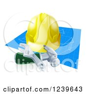 Clipart Of A 3d Builder Hardhat And Tools Over Blueprints Royalty Free Vector Illustration by AtStockIllustration