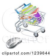 Clipart Of A Shopping Cart Full Of Books Wired To A Computer Mouse Royalty Free Vector Illustration
