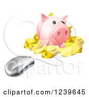Clipart Of A Computer Mouse Wired To A 3d Piggy Bank With Gold Coins Royalty Free Vector Illustration