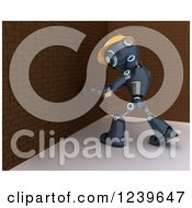 Clipart Of A 3d Blue Android Robot Ready To Demolish A Brich Wall Royalty Free CGI Illustration by KJ Pargeter