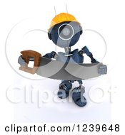 Clipart Of A 3d Blue Android Construction Robot With A Saw Royalty Free CGI Illustration