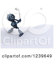 Clipart Of A 3d Blue Android Robot Golfing 3 Royalty Free CGI Illustration