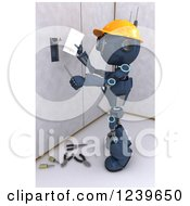 Clipart Of A 3d Blue Android Construction Robot Installing An Electrical Socket 2 Royalty Free CGI Illustration