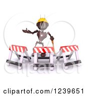 Clipart Of A 3d Red Android Construction Robot Gesturing Behind Barriers Royalty Free CGI Illustration