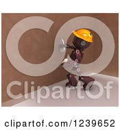 Clipart Of A 3d Red Android Construction Robot Plastering A Wall Royalty Free CGI Illustration