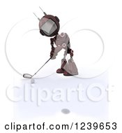Clipart Of A 3d Red Android Robot Golfing 3 Royalty Free CGI Illustration