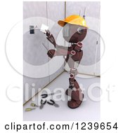 Clipart Of A 3d Red Android Construction Robot Installing An Electrical Socket 2 Royalty Free CGI Illustration