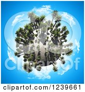 3d Sandy Globe With Palm Trees Over Blue Sky