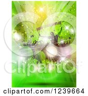 Clipart Of A Silhouetted Soccer Fans With Flags And Banners Over Green With Flares Royalty Free Vector Illustration