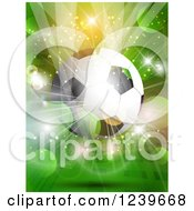 Clipart Of A Soccer Ball Over A Green Flare And Burst Background Royalty Free Vector Illustration by KJ Pargeter