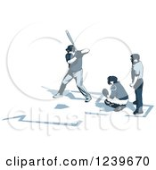 Clipart Of A Baseball Umpire Catcher And Batter Royalty Free Vector Illustration