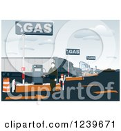 Clipart Of A Gas Station Attendant At A Pump Royalty Free Vector Illustration