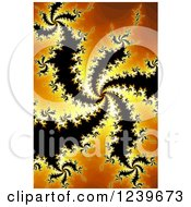 Clipart Of A Spiraling Black And Orange Fractal Background Royalty Free Illustration