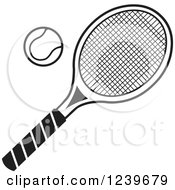 Clipart Of A Black And White Tennis Racquet And Ball Royalty Free Vector Illustration by Johnny Sajem