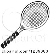 Clipart Of A Black And White Tennis Racquet Royalty Free Vector Illustration by Johnny Sajem