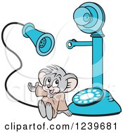 Clipart Of A Micah The Church Mouse With A Blue Candlestick Telephone Royalty Free Vector Illustration by Johnny Sajem