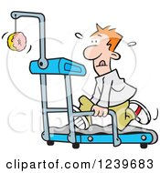 Clipart Of A Red Haired Man Running In Front Of A Dangling Donut On A Treadmill Royalty Free Vector Illustration by Johnny Sajem