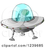 Clipart Of A Black Astronaut Flying A UFO Royalty Free Illustration by djart