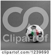 Clipart Of A 3d Italian Soccer Ball Over Gray Royalty Free CGI Illustration