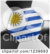 3d Close Up Of A Uruguayan Flag On A Soccer Ball