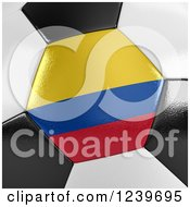 3d Close Up Of A Colombian Flag On A Soccer Ball