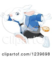Clipart Of A Late White Rabbit Of Wonderland Running Royalty Free Vector Illustration by Pushkin