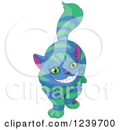 Clipart Of A Green And Blue Striped Cheshire Cat Grinning Royalty Free Vector Illustration by Pushkin
