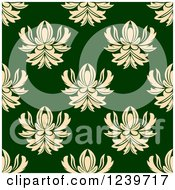 Clipart Of A Seamless Green And Beige Damask Background Pattern Royalty Free Vector Illustration