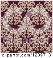 Clipart Of A Seamless Purple And Beige Damask Background Pattern Royalty Free Vector Illustration