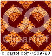Clipart Of A Seamless Red And Orange Damask Background Pattern Royalty Free Vector Illustration