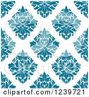 Clipart Of A Seamless Blue Damask Background Pattern Royalty Free Vector Illustration