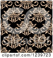 Clipart Of A Seamless Tan And Black Damask Background Pattern 2 Royalty Free Vector Illustration