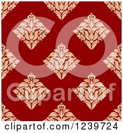 Clipart Of A Seamless Red And Tan Damask Background Pattern 6 Royalty Free Vector Illustration
