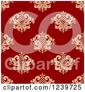 Clipart Of A Seamless Red And Tan Damask Background Pattern 7 Royalty Free Vector Illustration