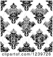 Clipart Of A Seamless Black And White Damask Background Pattern 26 Royalty Free Vector Illustration