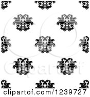 Clipart Of A Seamless Black And White Damask Background Pattern 24 Royalty Free Vector Illustration