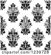 Clipart Of A Seamless Black And White Damask Background Pattern 25 Royalty Free Vector Illustration