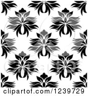 Clipart Of A Seamless Black And White Damask Background Pattern 23 Royalty Free Vector Illustration