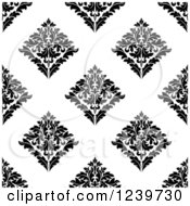 Clipart Of A Seamless Black And White Damask Background Pattern 27 Royalty Free Vector Illustration