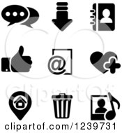 Clipart Of Black And White Multimedia Icons Royalty Free Vector Illustration