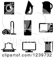 Clipart Of Black And White Household Appliance Icons Royalty Free Vector Illustration