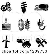 Clipart Of Black And White Agriculture And Energy Icons Royalty Free Vector Illustration